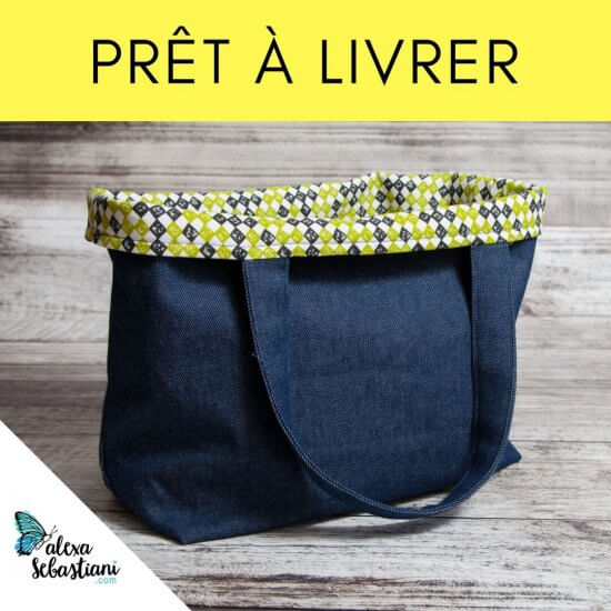 Sac à main Grande Jeans à carreaux