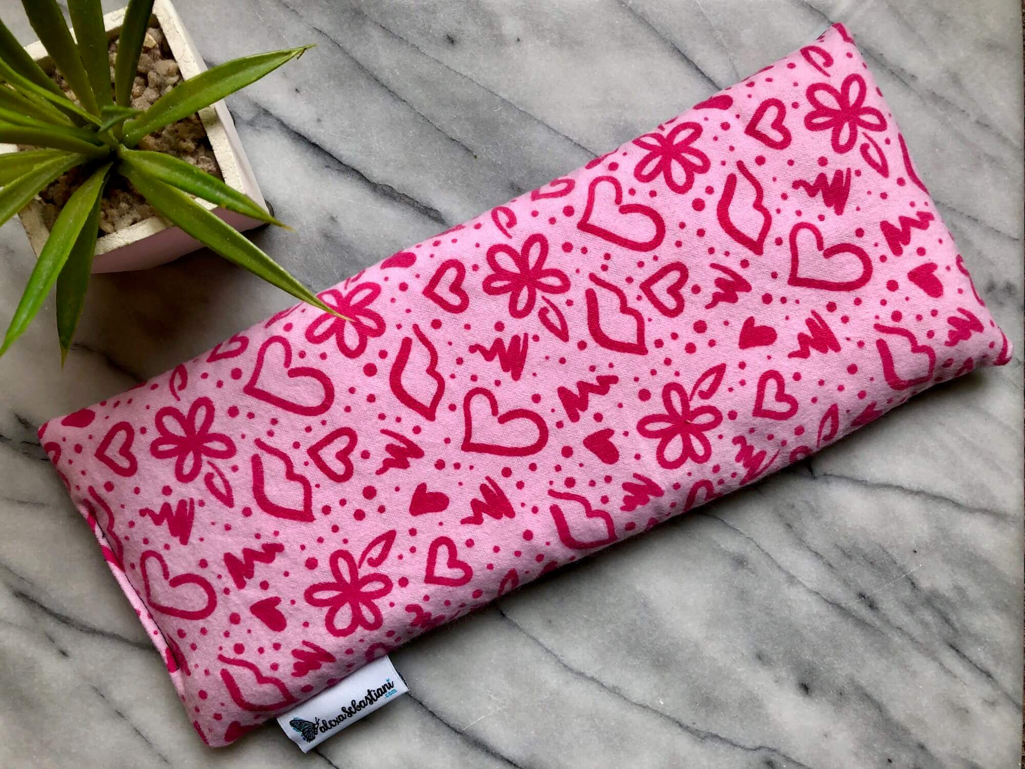 sac chauffant rectangle bisous roses